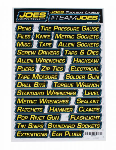 Joes Tool Box Labels